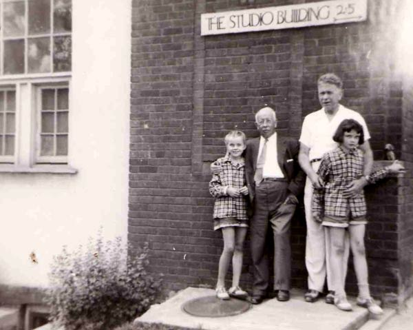 Kathy, AY Jackson, Maurice Haycock, Karole standing in front of the historic Studio Building, 25 Severn St., Toronto.