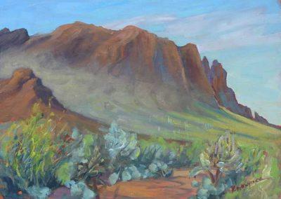 Morning Mist, First Water Trail, Superstition Mountains, AZ   9 x 12   $400 unframed