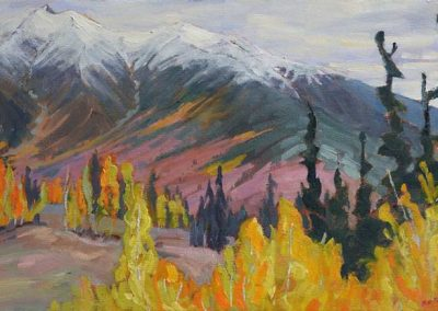 Gold along the Silver Trail - Mount Haldane on the road to Keno | 14 x 24 | $570 framed