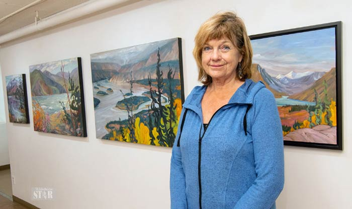 Kathy at the Arts Underground Focus Gallery. Photo by Vince Fedoroff, featured in the Whitehorse Daily STAR