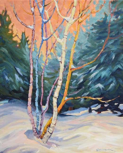 "Painting: ""The Birch Family"" in the Ontario Society of Artists (OSA) Members Exhibition of Selected Works"
